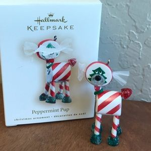 Peppermint pup hallmark ornament  candy dog decor